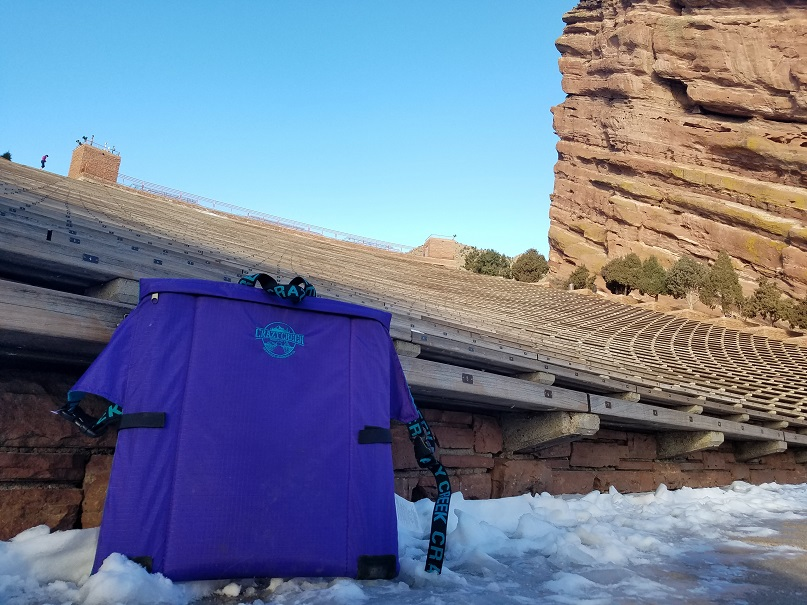 Crazy Creek Chair at an empty Red Rocks Amphitheater