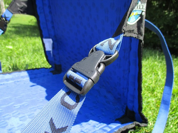 Close up of the Crazy Creek PowerLounger to show the buckle and mesh material