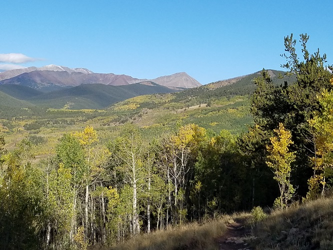 Image of the Kenosha Pass hike with bare mountains in the background and treetops
