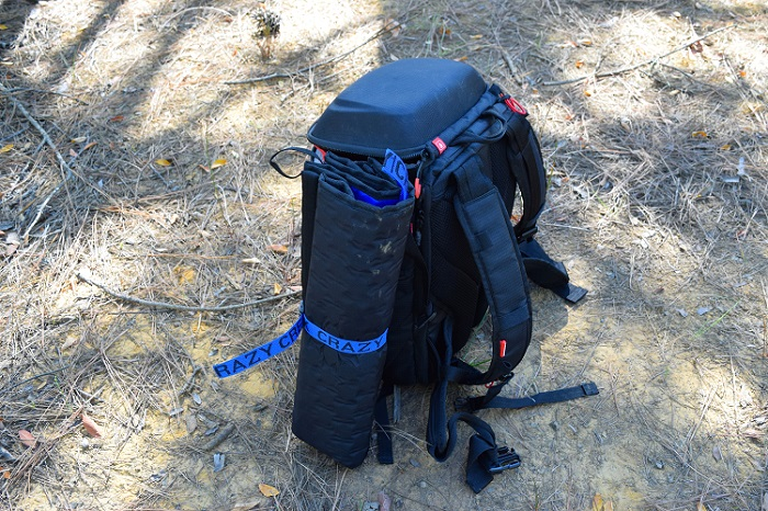 Backpack with Crazy Creek attached to the side